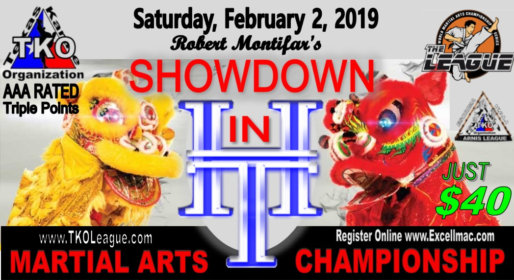 Showdown in H-Town 2019 TKO Qualifier on TournamentTiger - Tournament software by martial artists for martial artists.