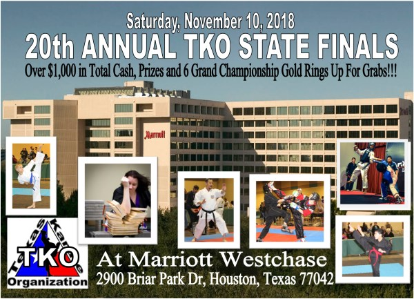 20th Annual 2018 TKO State Finals on TournamentTiger - Tournament software by martial artists for martial artists.