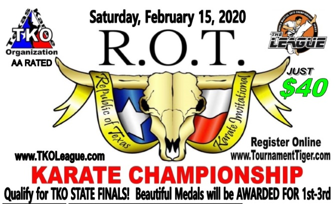 Republic of Texas 2020 TKO Qualifier on TournamentTiger - Tournament software by martial artists for martial artists.
