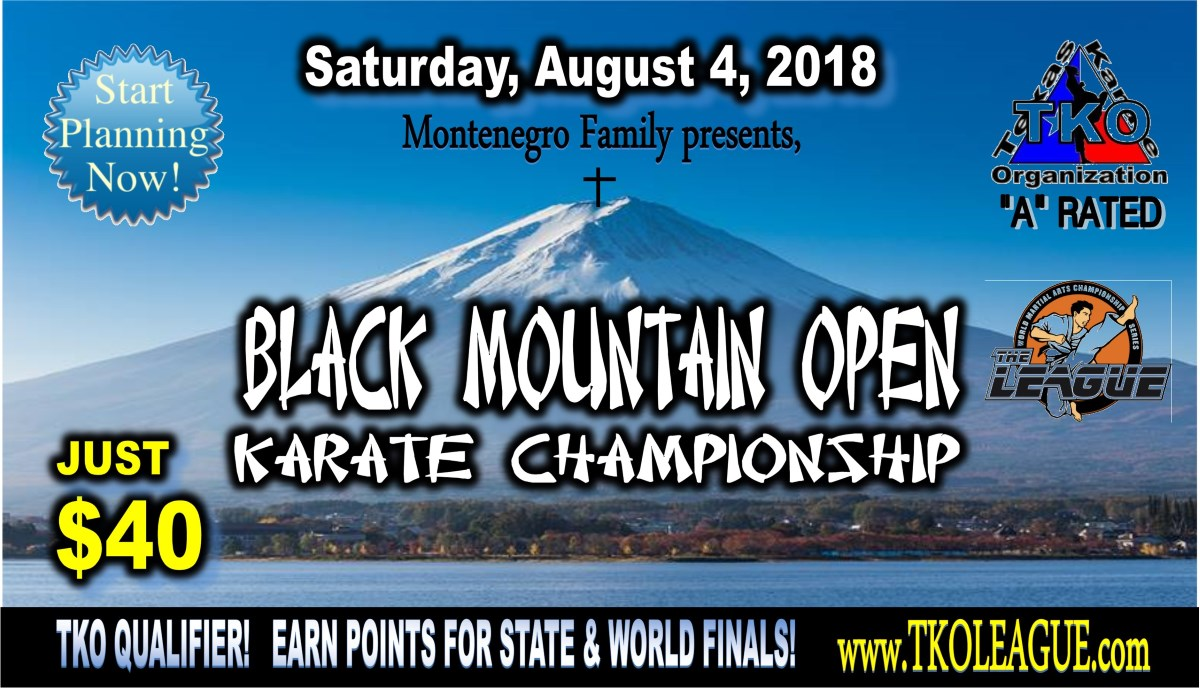 Black Mountain Open 2019 TKO Qualifier on TournamentTiger - Tournament software by martial artists for martial artists.