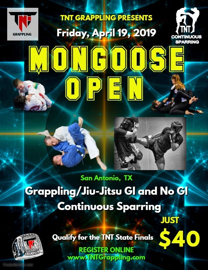 Mongoose Open 2019 TNT Grappling Qualifier on TournamentTiger - Tournament software by martial artists for martial artists.